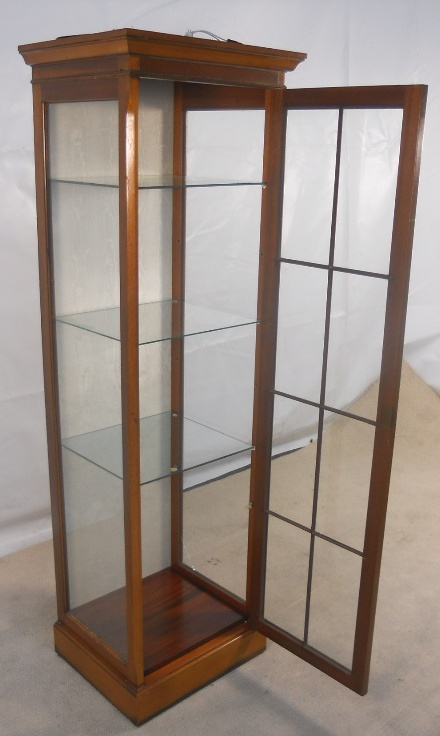 - Antique Style Yew Tall Narrow Display Cabinet - SOLD